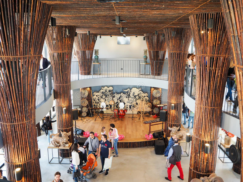 商展的,世界博览会印度尼西亚亭子 免版税库存照片
