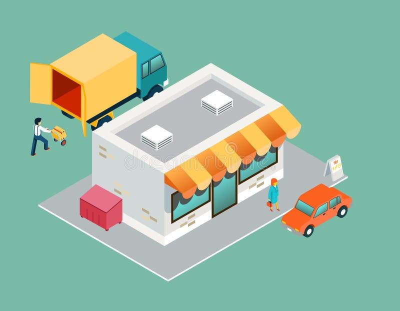 商店和交付等量3d顶端视图 皇族释放例证
