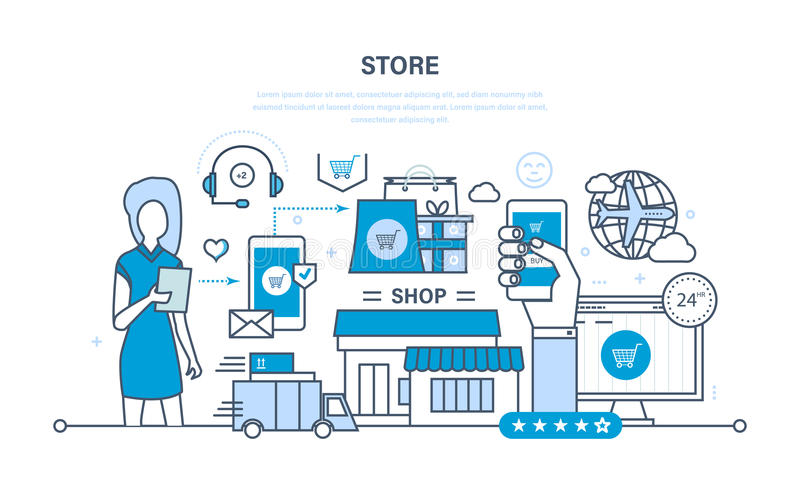 商店和网上购买,交付,技术支持 向量例证