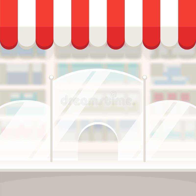 商店商店或药房背景的门面 库存例证