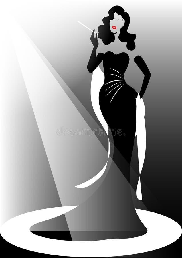 商店商标时尚妇女,深色的剪影歌剧女主角 公司商标设计,美丽的封面女郎减速火箭在黑礼服 库存例证