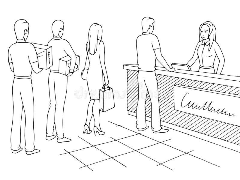 商店图表黑白色剪影例证传染媒介 人排队的队列图片