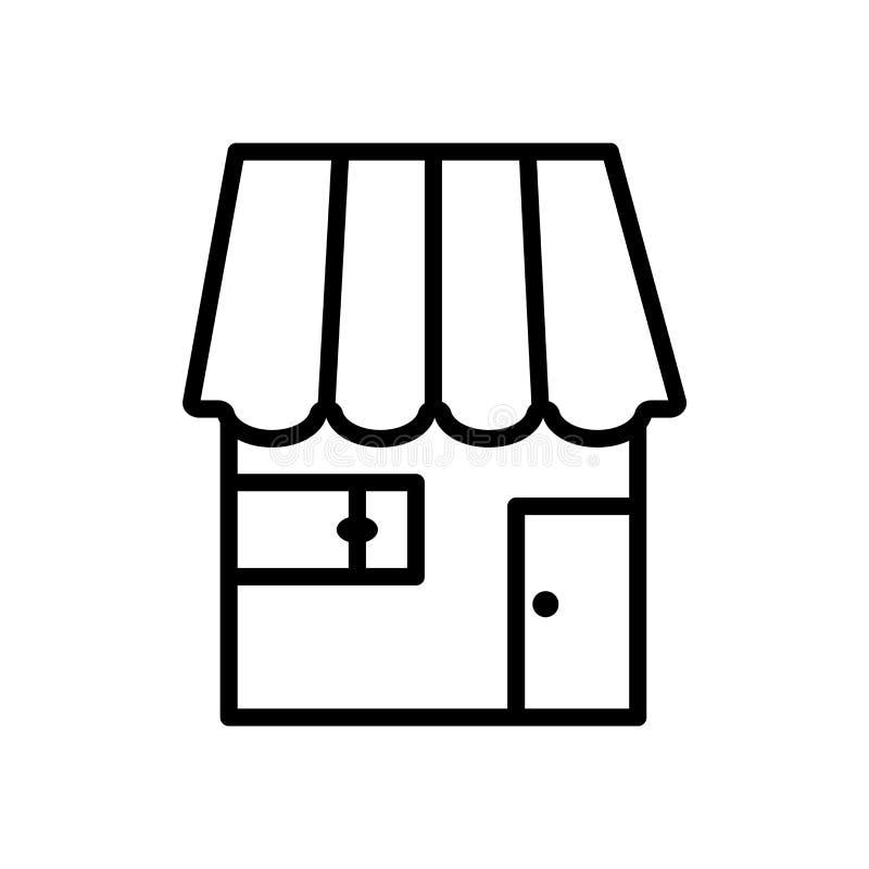商店在白色背景、商店标志、线或者线性标志隔绝的象传染媒介,在概述样式的元素设计 皇族释放例证