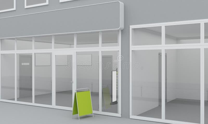 商店或办公室门面的例证 外部 向量例证