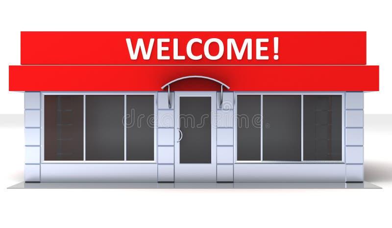 商店或minimarket报亭外部的例证 向量例证
