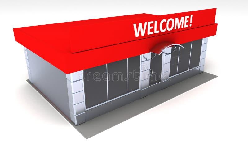商店或minimarket报亭外部的例证 皇族释放例证