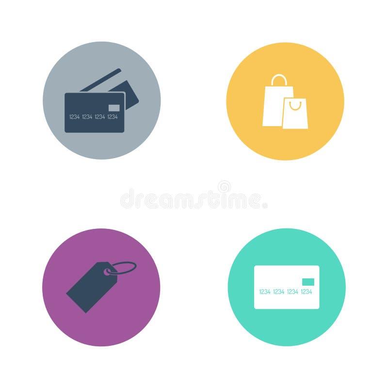 商店按钮交易市场零售店传染媒介集合 库存例证