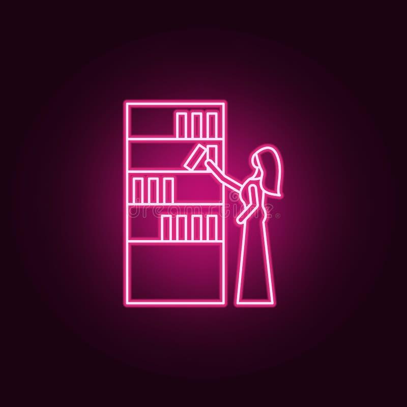 商店概述象的女孩 购物中心在霓虹样式象的购物中心的元素 网站的简单的象,网络设计,流动app 向量例证