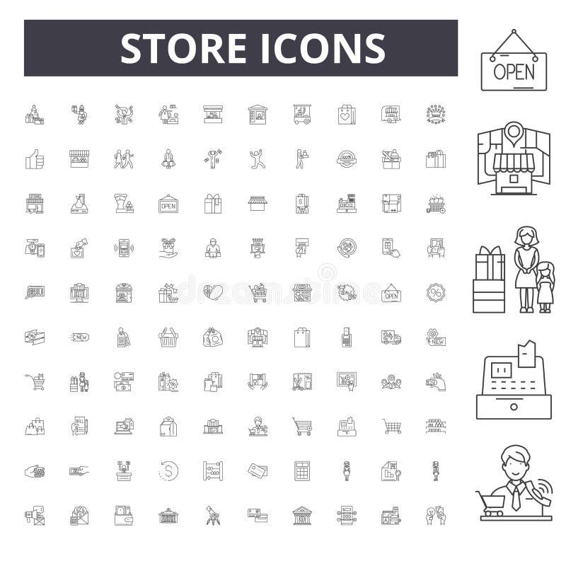 商店线象,标志,传染媒介集合,概述概念例证 向量例证