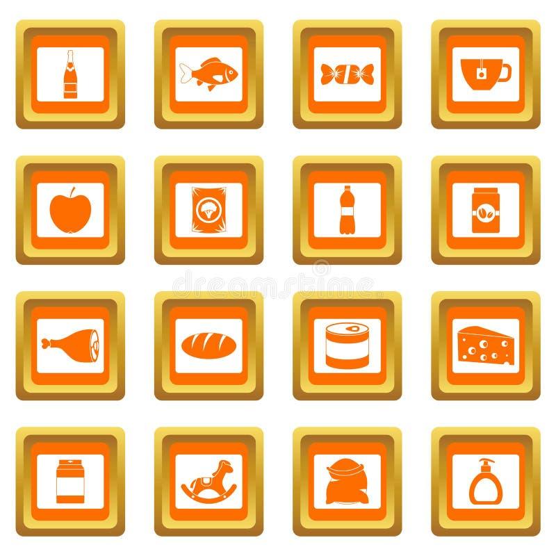 商店航海橙色食物的象被设置 皇族释放例证