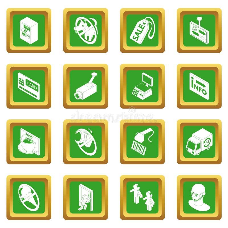 商店航海食物象被设置的绿色正方形 向量例证