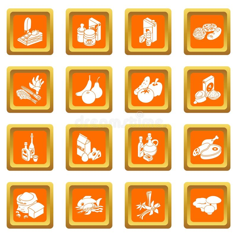商店航海食物象设置了橙色方形的传染媒介 向量例证