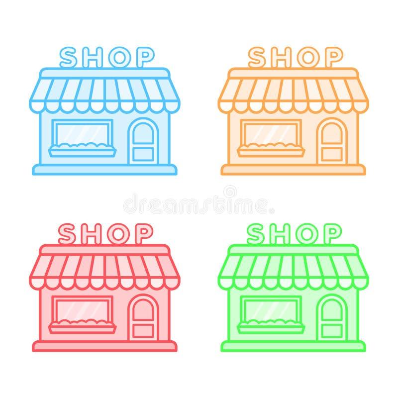 商店被设置的传染媒介象 存放象 平的样式 库存例证