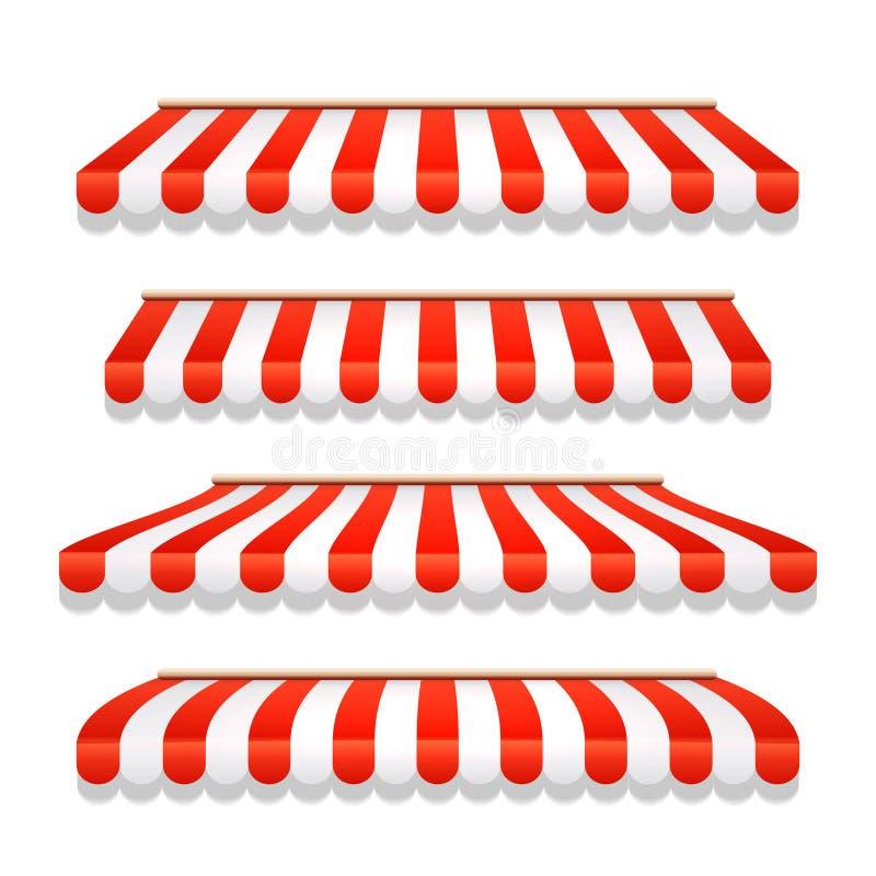 商店遮篷商店机盖 商店帐篷红色镶边屋顶正面图 餐馆、杂货或者咖啡馆遮篷街道伞 向量例证