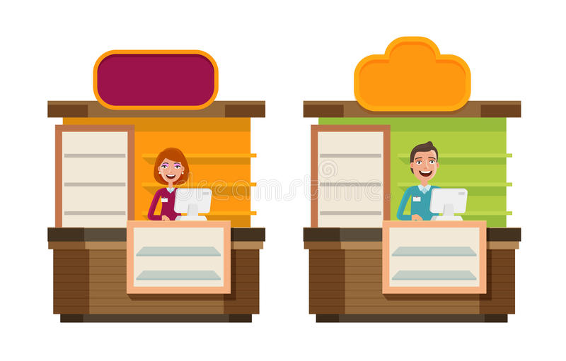 商店,商店,柜台,购物的象 店面,陈列室,陈列立场,展览,招待会,展示概念 动画片 向量例证