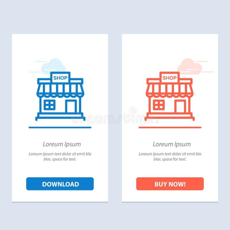商店,商店,网上,商店、市场蓝色和红色下载和现在买网装饰物卡片模板 库存例证