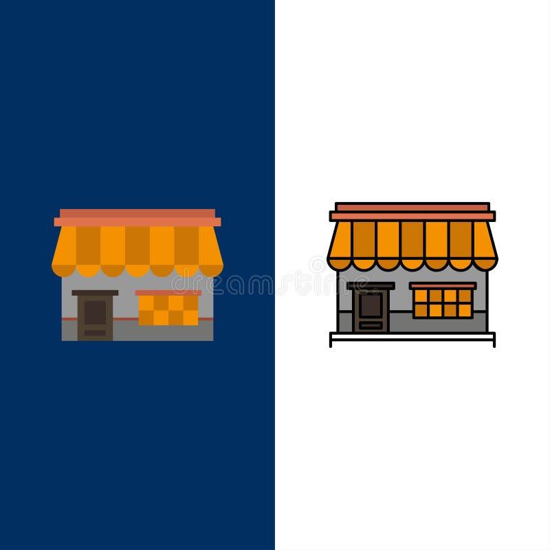 商店,网上,市场,商店,修造的象 舱内甲板和线被填装的象设置了传染媒介蓝色背景 皇族释放例证