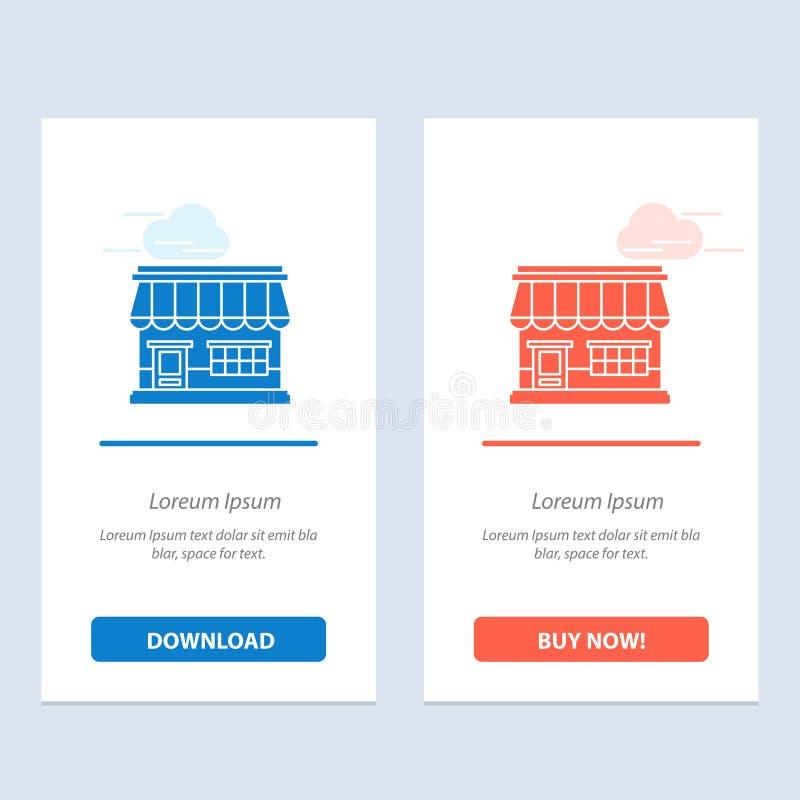 商店,网上,市场,商店,建立蓝色和红色下载和现在买网装饰物卡片模板 库存例证