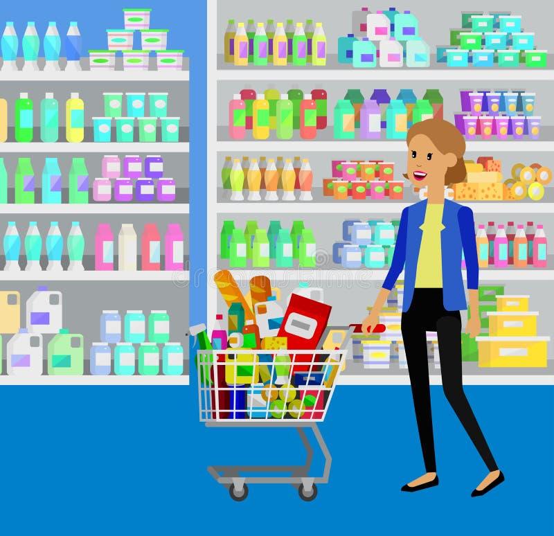商店,超级市场传染媒介平的例证 库存例证