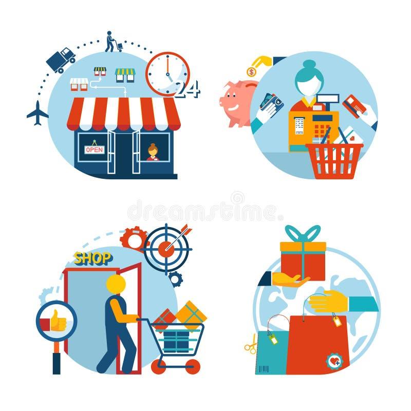 商店购物和交付的购物象 皇族释放例证