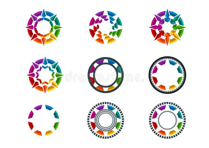 商标、元素、星、象、事务、标志、地球和技术构思设计 向量例证