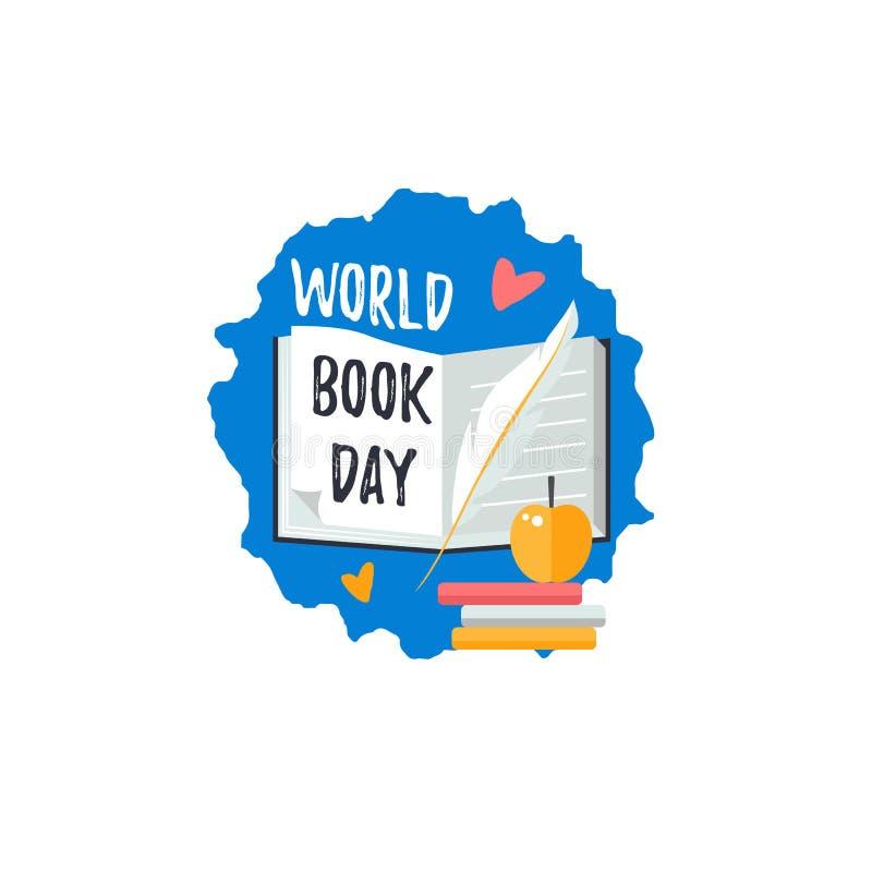 商标为世界书天 与翎毛钢笔、苹果和书的文本 向量例证
