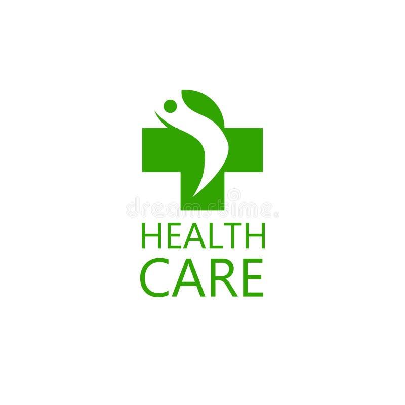 商标人十字架和剪影  诊所的商标,制药公司 家庭医生的商标,急救 医疗 向量例证