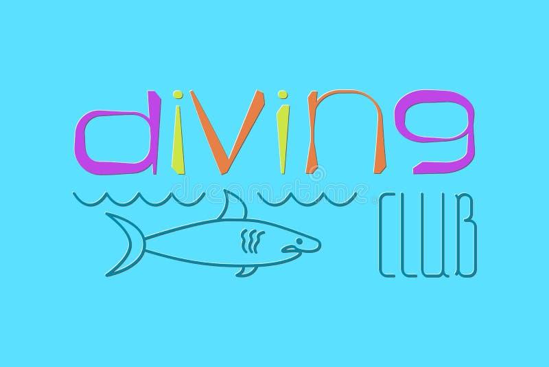 商标佩戴水肺的潜水 向量例证