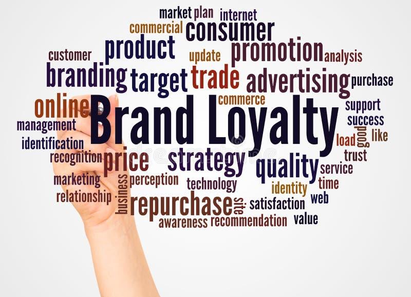 商标信誉词云彩和手有标志概念的 皇族释放例证