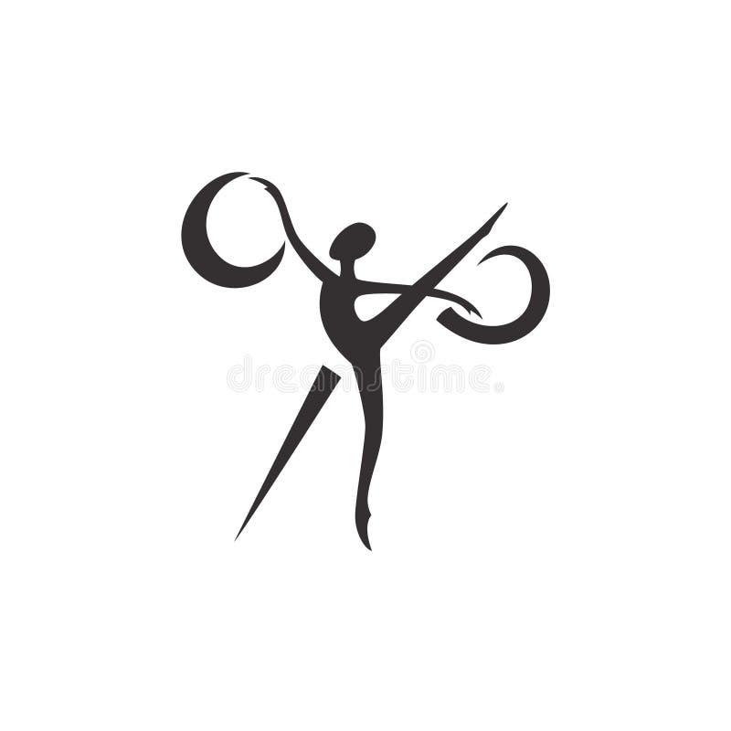商标剪影芭蕾舞女演员和剪刀,缝合的演播室 免版税库存照片