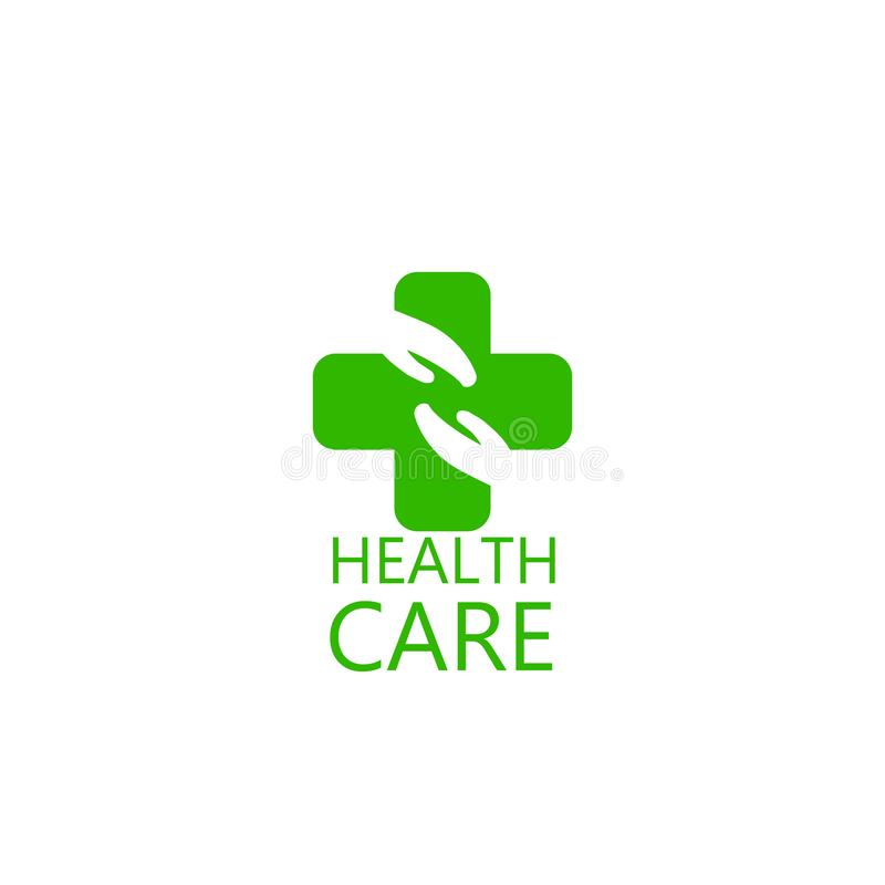 商标十字架和手健康 诊所的商标,制药公司医疗内阁 在空白背景查出的向量 皇族释放例证