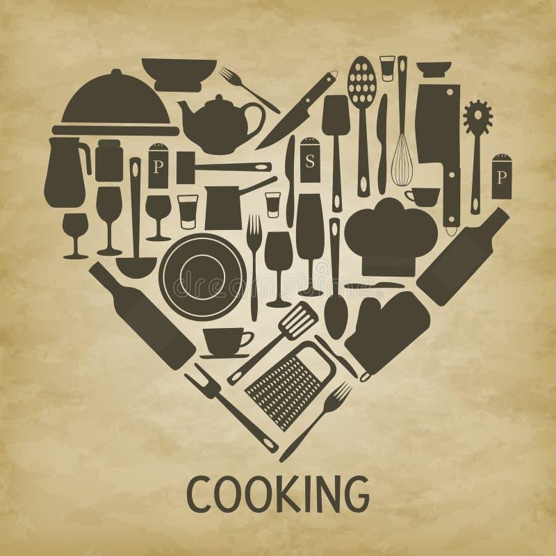 商标厨房象心脏 向量例证