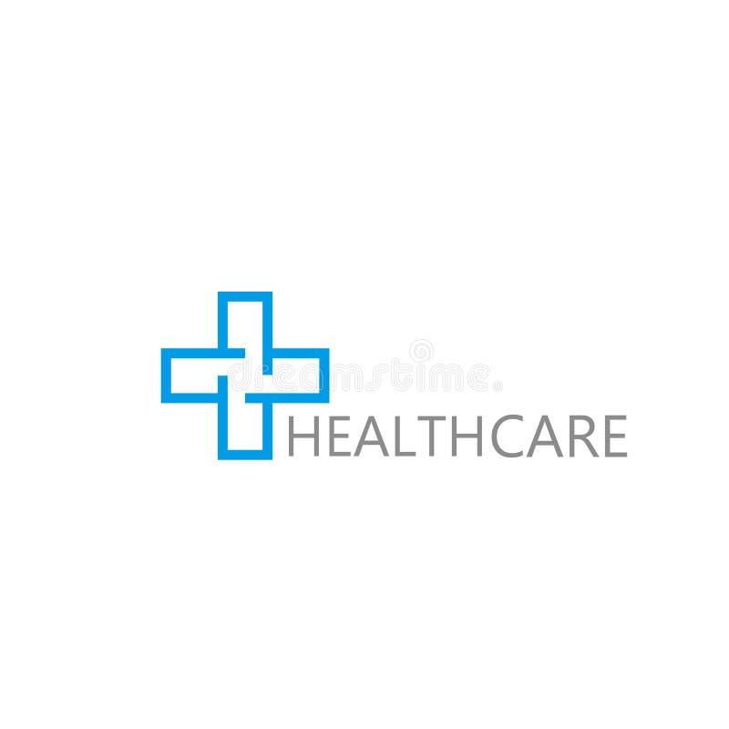 商标发怒健康 诊所的商标,制药公司 卫生医疗内阁 在空白背景查出的向量 库存例证