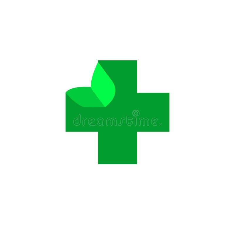 商标发怒健康 诊所的商标,制药公司 在空白背景查出的向量 向量例证