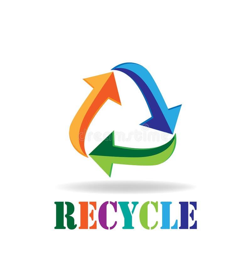 商标回收箭头标志减少再用回收的名片 皇族释放例证