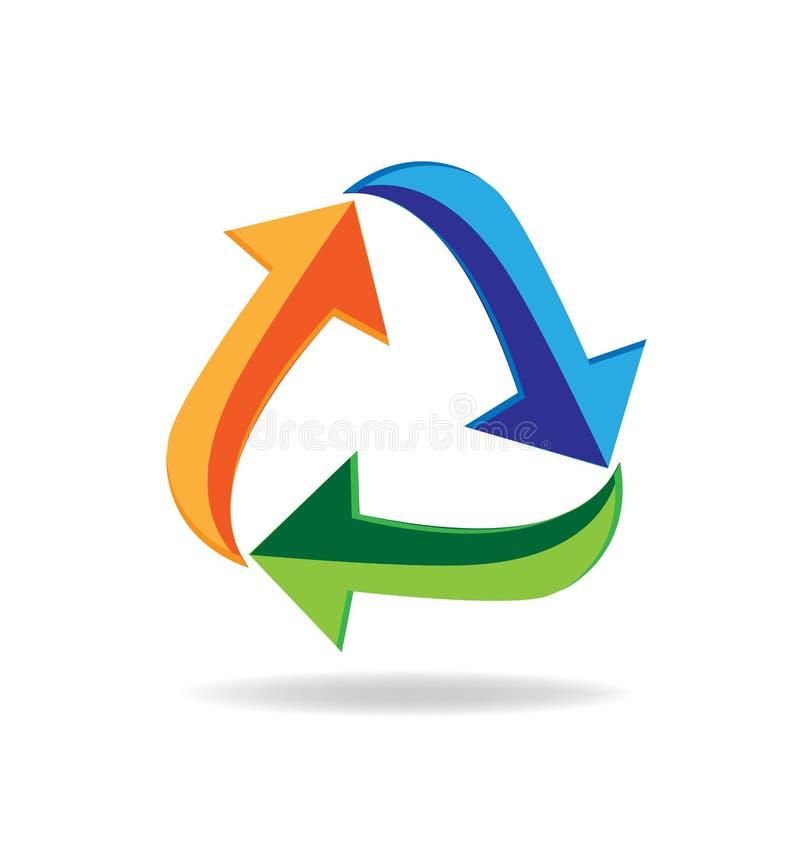 商标回收箭头标志减少再用回收的名片 向量例证