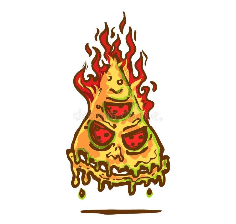 商标在火的地狱比萨 库存例证
