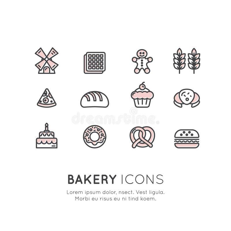 商标套面包店甜商店、习惯蛋糕生产、面包工厂、椒盐脆饼和奶蛋烘饼,多福饼,曲奇饼 向量例证