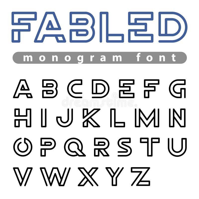 商标字体传染媒介字母表设计线性ABC概述字体 皇族释放例证