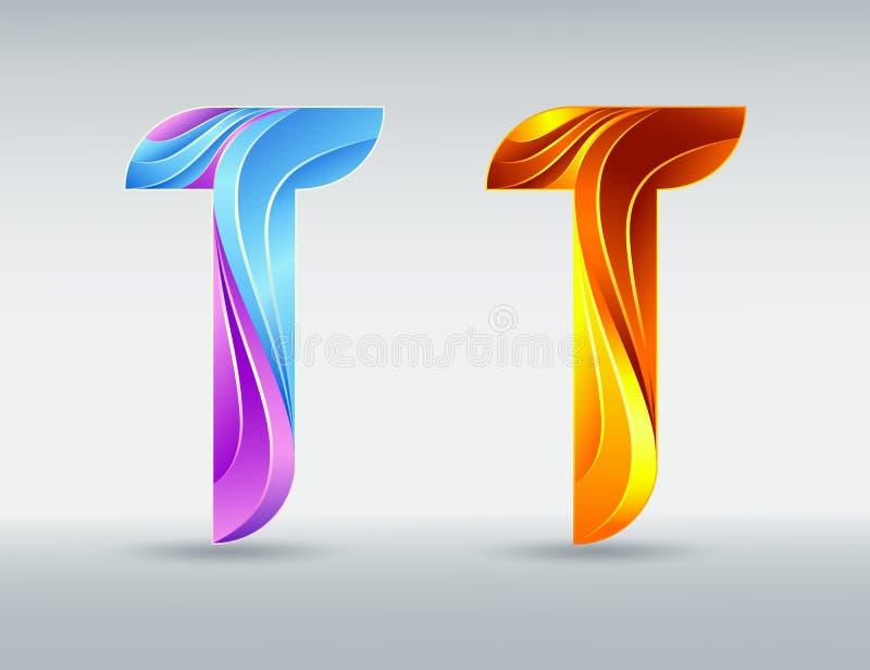 商标字体 五颜六色的创造性的信件T 抽象3D字体 焦糖和紫外颜色 向量例证