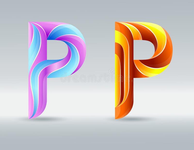 商标字体 创造性的扭转的信件P 抽象3D字体 焦糖和紫外颜色 一个典雅的印刷概念 皇族释放例证
