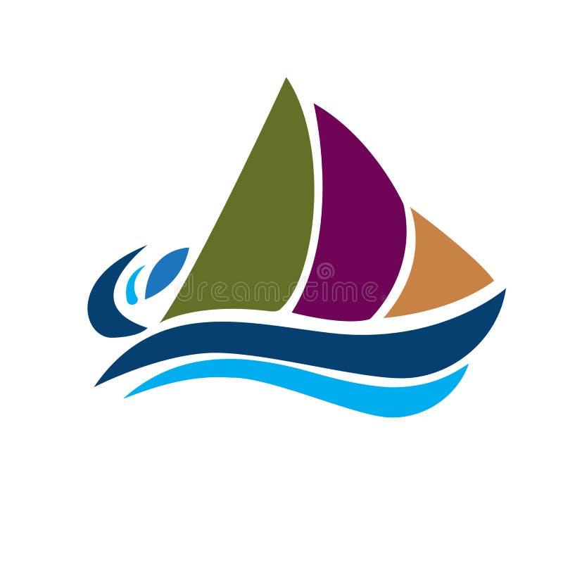 商标小船和波浪象传染媒介图象 向量例证