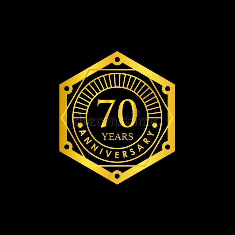 商标徽章周年黑色和金子70年 向量例证