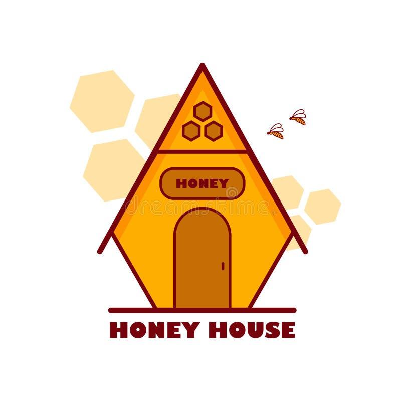 商标有蜂的蜂蜜房子 向量例证