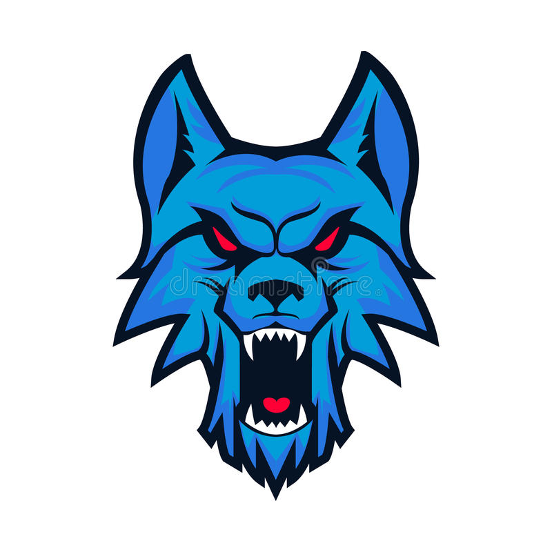 商标模板与恼怒的狼头的 体育队的象征 Ma 库存例证