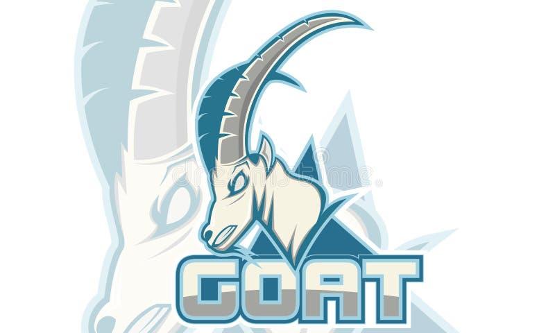 商标比赛启发,山羊商标,白色背景颜色,商标比赛体育 库存图片