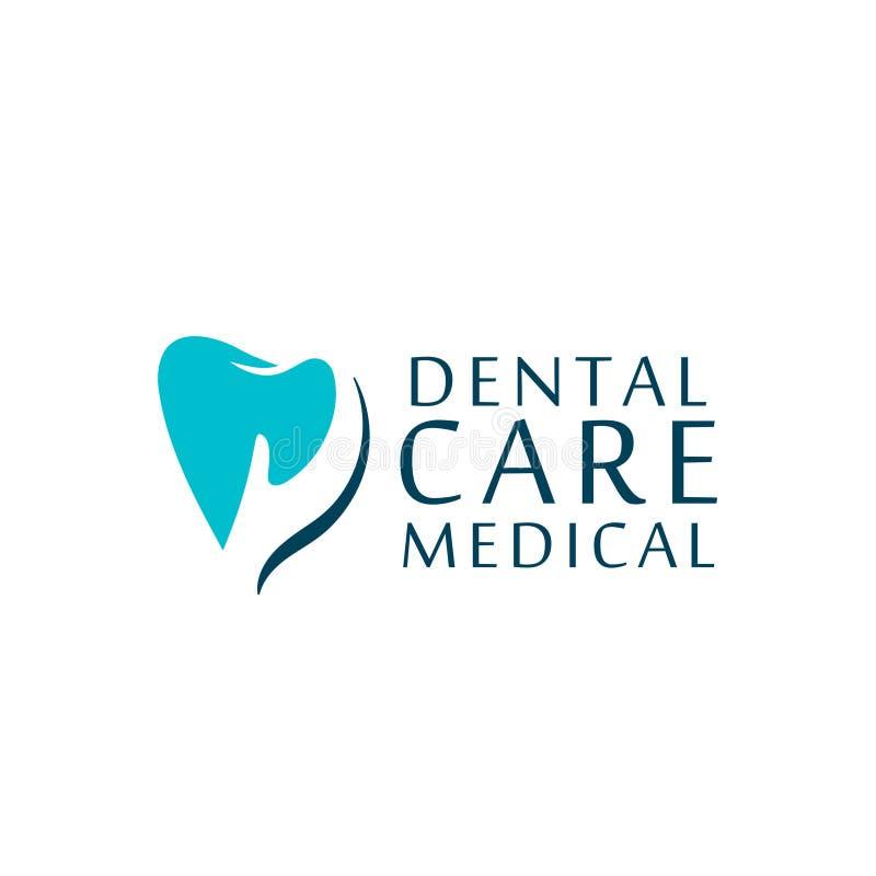 商标牙齿保护诊所,孩子的牙科 牙抽象象 免版税库存照片