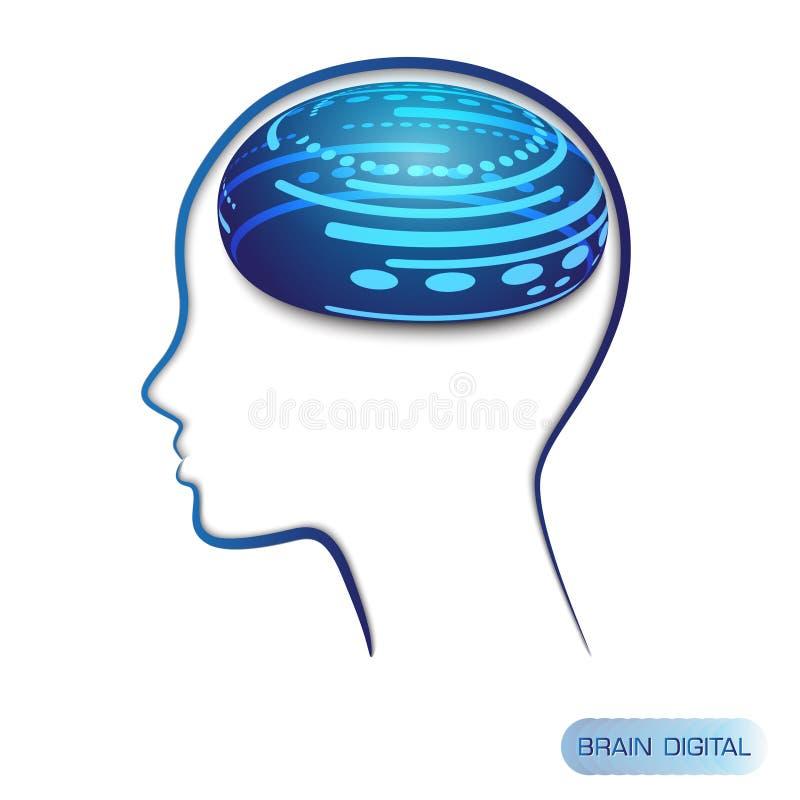 商标电路数字式单板计算机样式脑子传染媒介技术蓝色背景 向量例证