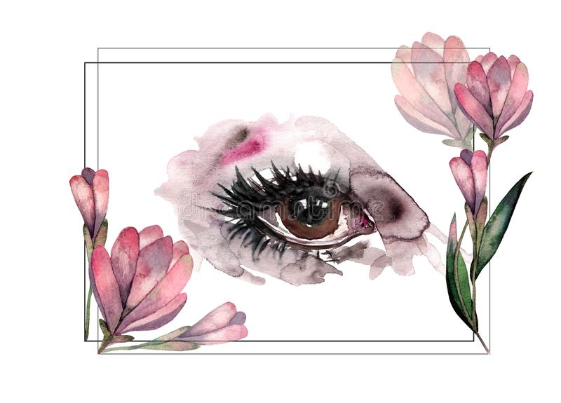 商标的手拉的水彩眼睛,横幅 向量例证