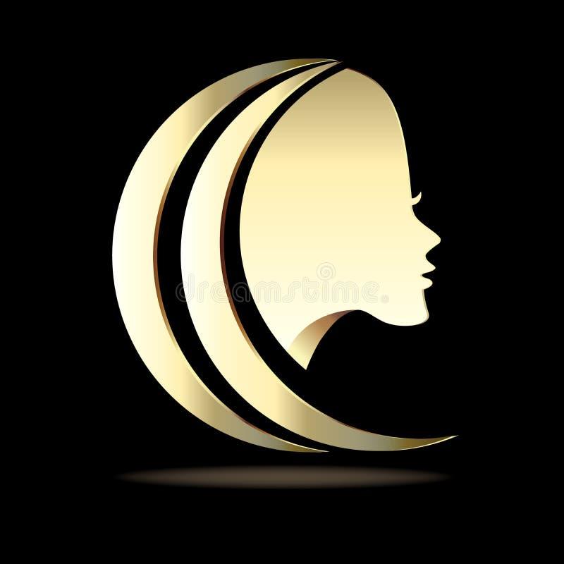 商标美好的女孩妇女面孔象金子传染媒介图象模板 向量例证